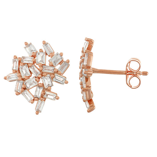Lab Created White Sapphire 14K Rose Gold Over Silver 13.8mm Stud Earrings