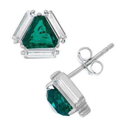 Lab Created Green Emerald Sterling Silver 9.3mm Stud Earrings