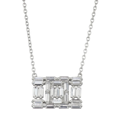 Womens Lab Created White Sapphire Pendant Necklace Set