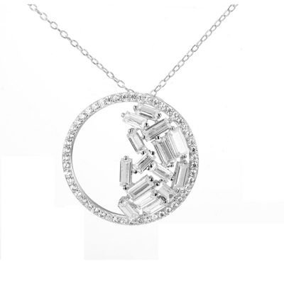 Womens Lab Created White Sapphire Sterling Silver Pendant Necklace Set