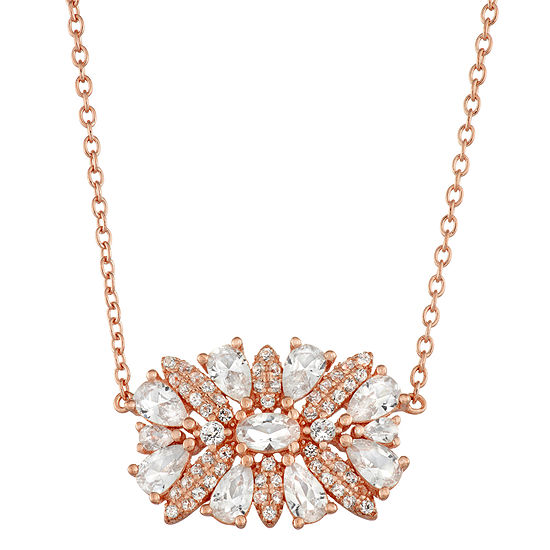 Womens Lab Created White Sapphire 14K Rose Gold Over Silver Pendant Necklace Set