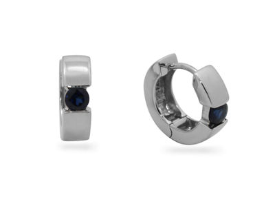 Lab Created Blue Sapphire Sterling Silver 13.7mm Hoop Earrings