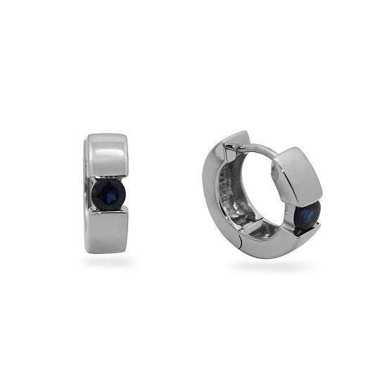 Lab Created Blue Sapphire Sterling Silver 13.7mm Hoop Earrings