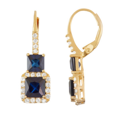 Lab Created Blue Sapphire 10K Gold Over Silver 30.3mm Hoop Earrings