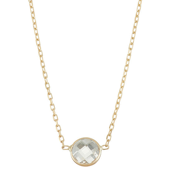 Womens Lab Created White Sapphire 10K Gold Pendant Necklace