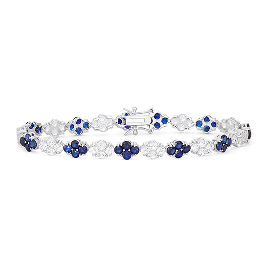 Lab Created Blue Sapphire Sterling Silver 725 Inch Tennis Bracelet
