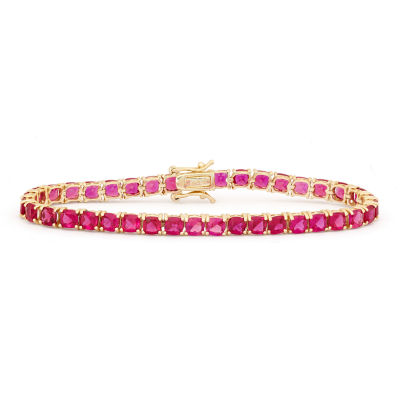 Lead Glass-Filled Red Ruby 14K Gold Over Silver 7.25 Inch Tennis Bracelet