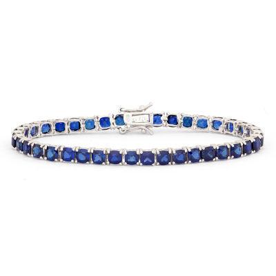 Lab Created Blue Sapphire 7.25 Inch Tennis Bracelet