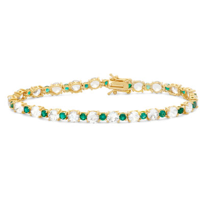 Lab Created White Sapphire 14K Gold Over Silver 7.25 Inch Tennis Bracelet