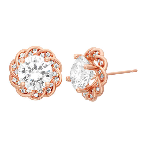 Lab Created White Sapphire 14K Rose Gold Over Silver 12.5mm Stud Earrings