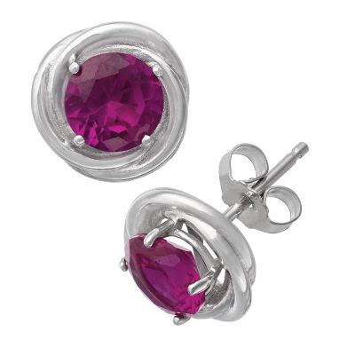 Lead Glass-Filled Red Ruby Sterling Silver 9.5mm Stud Earrings