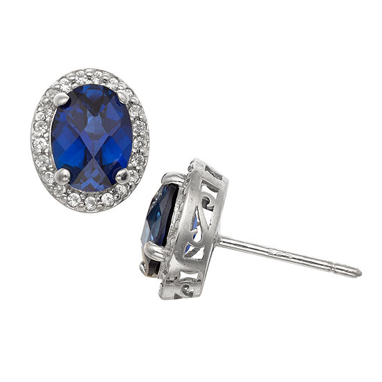 Lab Created Blue Sapphire Sterling Silver 10.7mm Stud Earrings