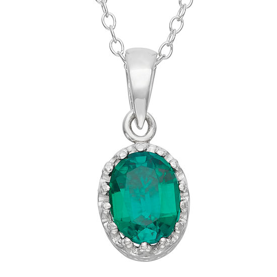 Womens Lab Created Green Emerald Sterling Silver Oval Pendant Necklace