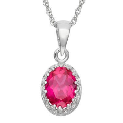 Womens Lead Glass-Filled Red Ruby Sterling Silver Oval Pendant Necklace