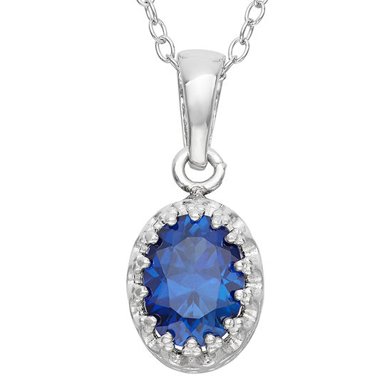 Womens Lab Created Blue Sapphire Sterling Silver Oval Pendant Necklace