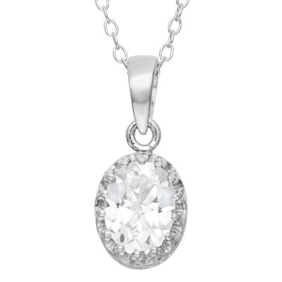 Womens Lab Created White Sapphire Sterling Silver Oval Pendant Necklace