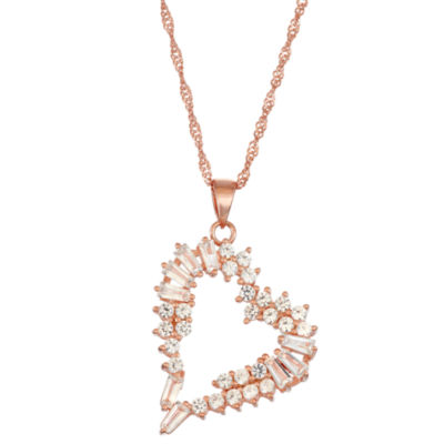 Womens Lab Created White Sapphire 14K Rose Gold Over Silver Rectangular Pendant Necklace