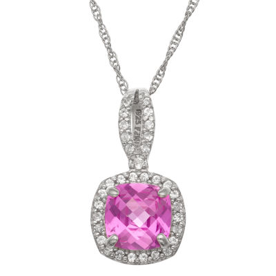 Womens Lab Created Pink Sapphire Sterling Silver Square Pendant Necklace