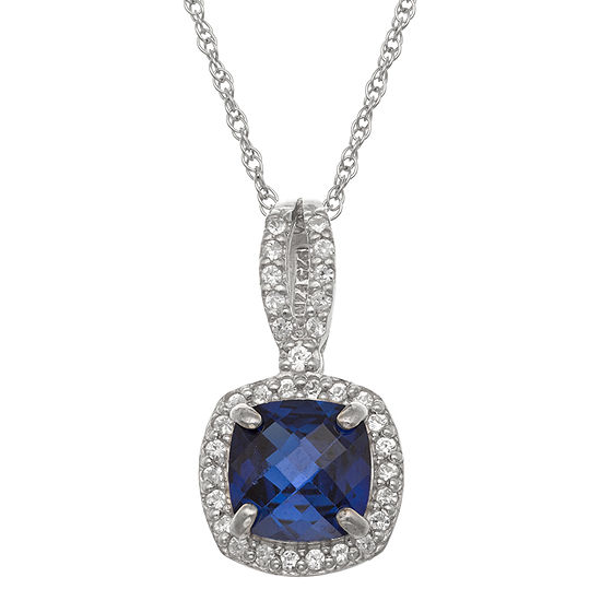 Womens Lab Created Blue Sapphire Sterling Silver Square Pendant Necklace