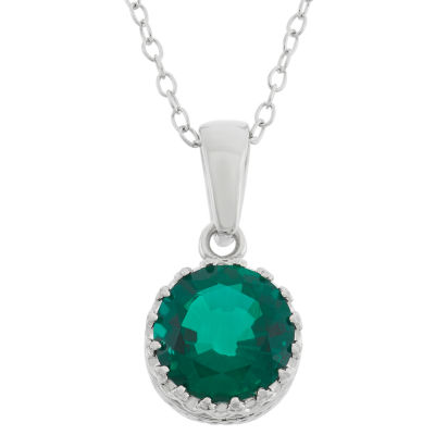 Womens Lab Created Green Emerald Sterling Silver Round Pendant Necklace