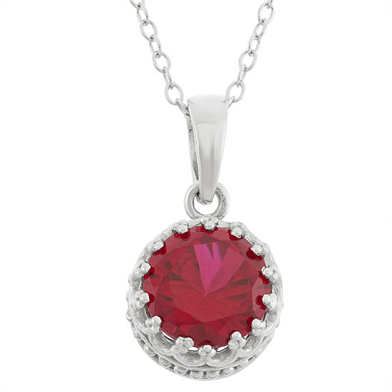 Womens Lead Glass-Filled Red Ruby Sterling Silver Round Pendant Necklace