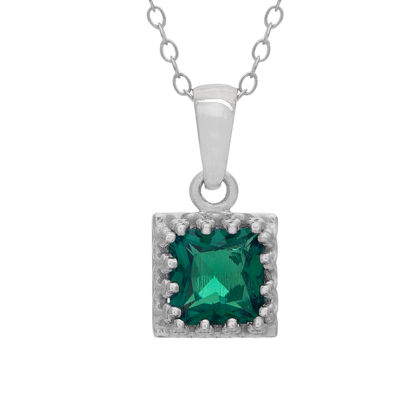 Womens Lab Created Green Emerald Sterling Silver Square Pendant Necklace