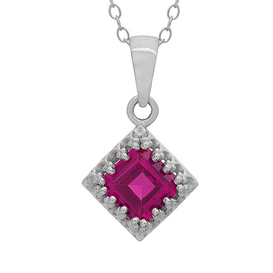 Womens Lead Glass-Filled Red Ruby Sterling Silver Square Pendant Necklace