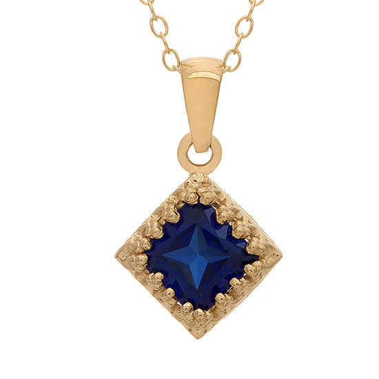 Womens Lab Created Blue Sapphire 14K Gold Over Silver Square Pendant Necklace