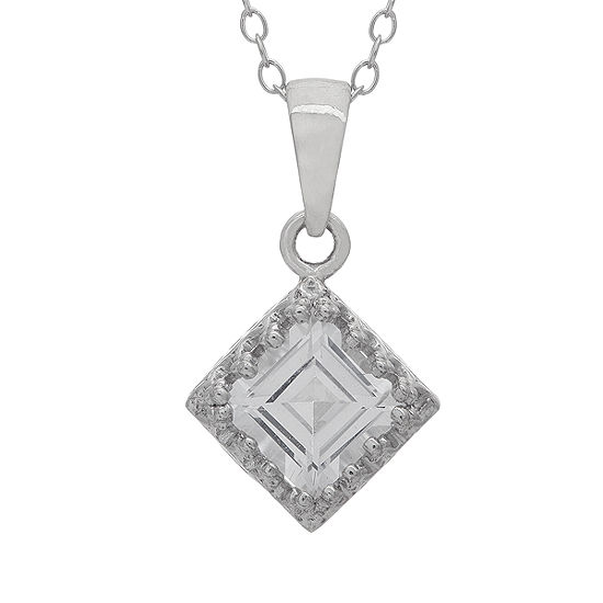 Womens Lab Created White Sapphire Sterling Silver Square Pendant Necklace