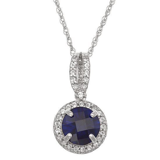 Womens Lab Created Blue Sapphire Sterling Silver Round Pendant Necklace