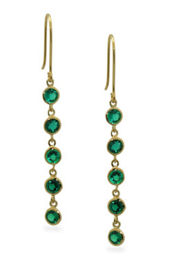 Lab Created Green Emerald 14K Gold Over Silver Round Drop Earrings