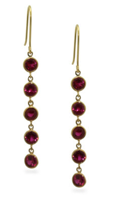 Lead Glass-Filled Red Ruby 14K Gold Over Silver Round Drop Earrings