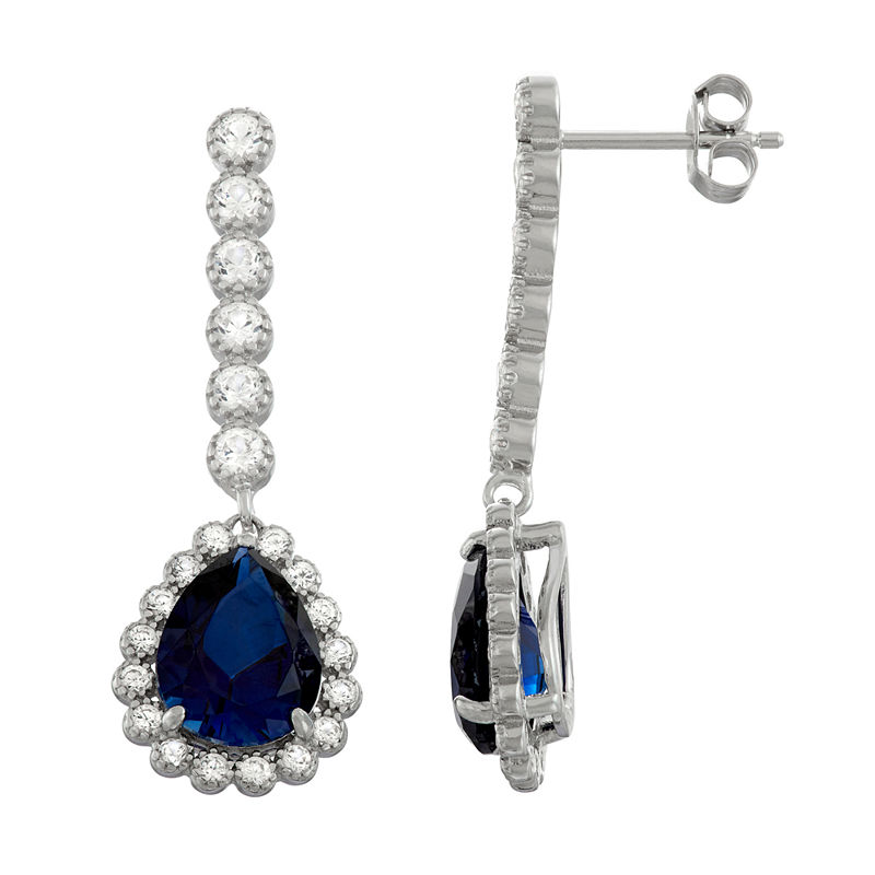 image of Lab Created Blue Sapphire Sterling Silver 35.4mm Pear Stud Earrings