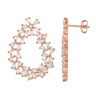 Lab Created White Sapphire 14K Rose Gold Over Silver 29.3mm Pear Stud Earrings