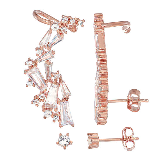 Lab Created White Sapphire 14K Rose Gold Over Silver Rectangular 2 Pair Earring Set