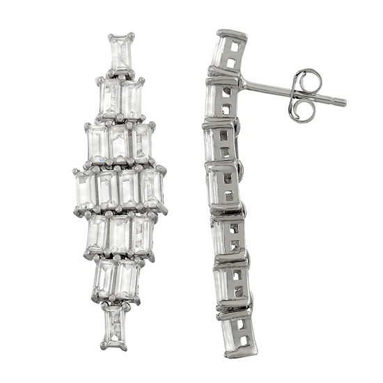 Lab Created White Sapphire Sterling Silver Rectangular Chandelier Earrings
