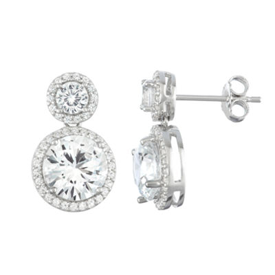 Lab Created White Sapphire Sterling Silver 17.1mm Round Stud Earrings