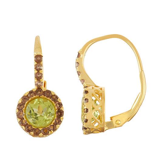 Genuine Green Peridot 14K Gold Over Silver Drop Earrings
