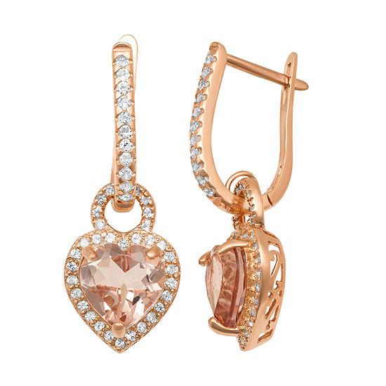 Simulated Pink Morganite 14K Rose Gold Over Silver Heart Drop Earrings