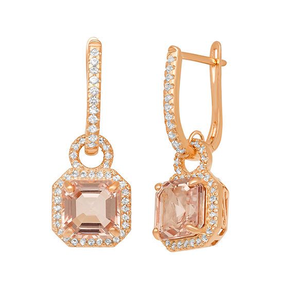 Simulated Pink Morganite 14K Rose Gold Over Silver Drop Earrings