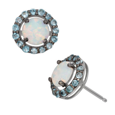 Lab Created White Opal Sterling Silver 9.7mm Stud Earrings