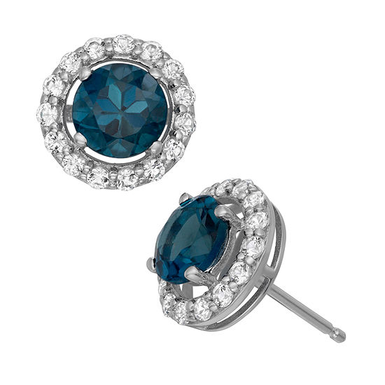 Genuine Blue Topaz Sterling Silver 9.7mm Stud Earrings