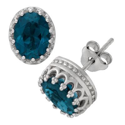 Genuine Blue Topaz Sterling Silver 10mm Stud Earrings