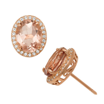 Simulated Pink Morganite 14K Rose Gold Over Silver 12.7mm Stud Earrings