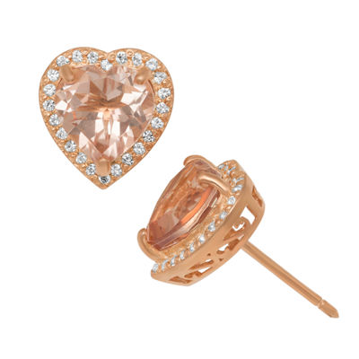 Simulated Pink Morganite 14K Rose Gold Over Silver 11.2mm Heart Stud Earrings