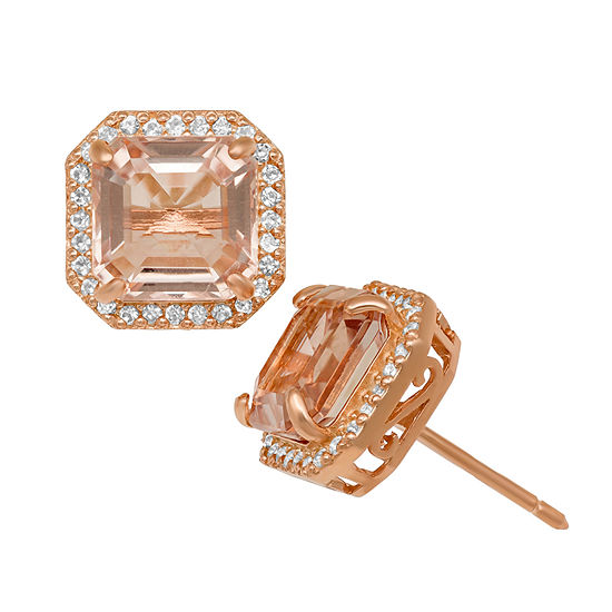 Simulated Pink Morganite 14K Rose Gold Over Silver 10.5mm Stud Earrings