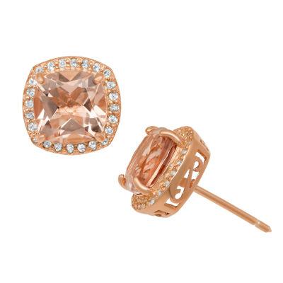 Simulated Pink Morganite 14K Rose Gold Over Silver 11mm Stud Earrings