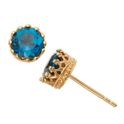 Genuine Blue Topaz 14K Gold Over Silver 7mm Stud Earrings
