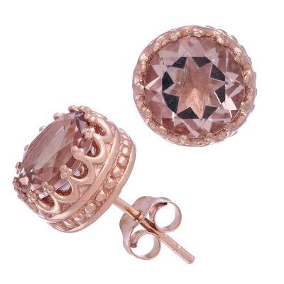 Simulated Pink Morganite 14K Rose Gold Over Silver 9.5mm Stud Earrings