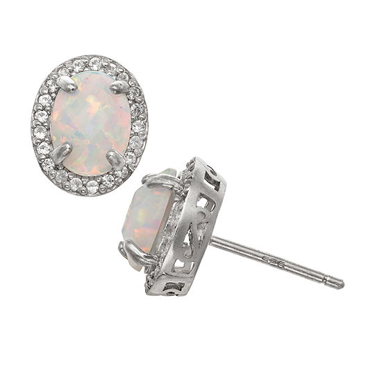 Lab Created White Opal Sterling Silver 10.7mm Stud Earrings